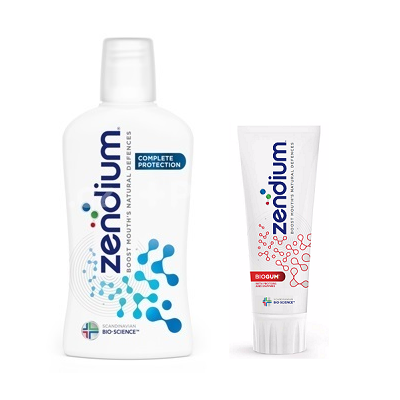 ZENDIUM zubná pasta Biogum + ústna voda Complete Protection